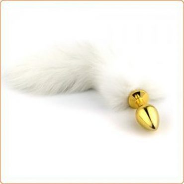 Golden Fetish Butt Plug With Arctic Fox Tail Small