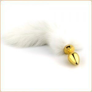 Golden Fetish Butt Plug With Arctic Fox Tail Large