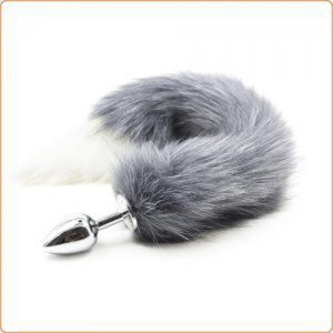 Fox Tail Metal Anal Plug - Gray & White Tail