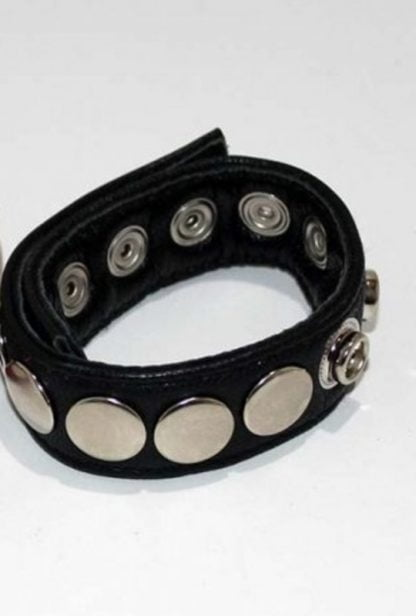 8 Speed Black Leather Cock Ring