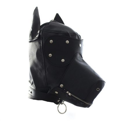 Bang Good Bondage Dog Hood Shiny Real Leather