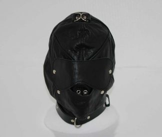 Bondage Supplies Leather Hood with Gag and Blindfold