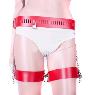 KookieLeather Wrist and Thigh Restraints Red