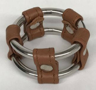 Plain Tube Steel Double Cock Ring Brown