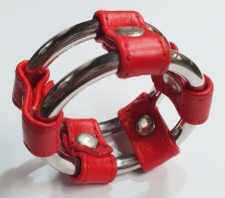 Plain Tube Steel Double Cock Ring Red 40mm