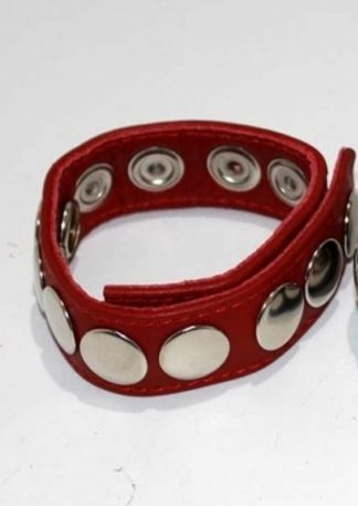 8 Speed Red Leather Cock Ring