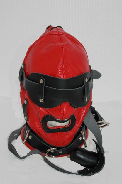 Hell Fire Slave Hood & Blindfold Faux Leather Red & Black